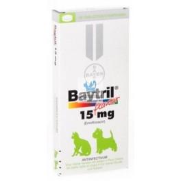 BAYTRIL SABOR 15 mg Comprimidos antibioticos para Perros y Gatos
