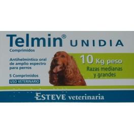 TELMIN UNIDIA 10 Kg 5 Comprimidos desparasitar perros
