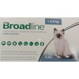 BROADLINE SPOT-ON GATOS  menos de 2.5 Kg 3 Pipetas desparasitar gatos